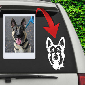 ▶ Custom B&W Car Decal (Single Pet)