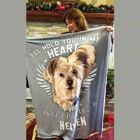 "Image of ▶ Pet Memorial Blanket ""Hold You In My Heart"""