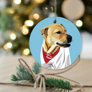 ▶ Custom Pet Christmas Ornament (Circle)