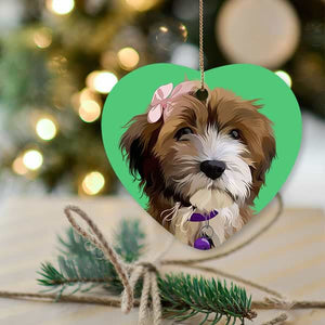 ▶ Custom Pet Christmas Ornament (Heart)