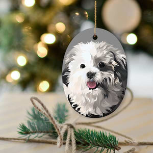 ▶ Custom Pet Christmas Ornament (Oval)