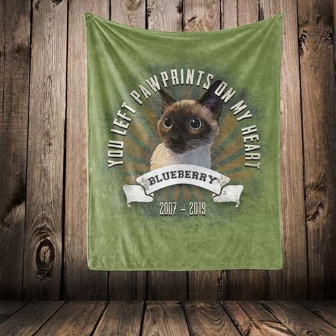 "Image of ▶ Pet Memorial Blanket ""You Left Paw Prints On My Heart"""