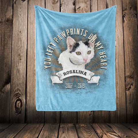 "▶ Pet Memorial Blanket ""You Left Paw Prints On My Heart"""