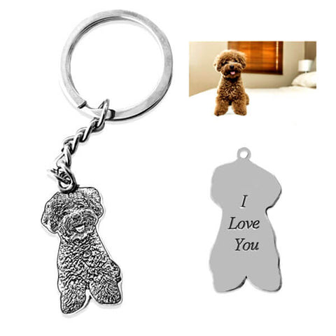 Image of ▶ Pet Photo Keychain in Sterling Silver