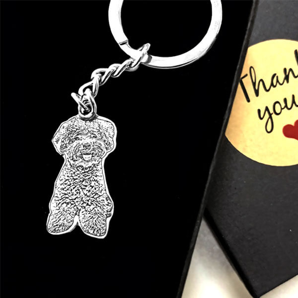 ▶ Pet Photo Keychain in Sterling Silver