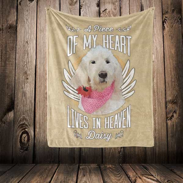"▶ Pet Memorial Blanket ""A Piece Of My Heart Lives In Heaven"""