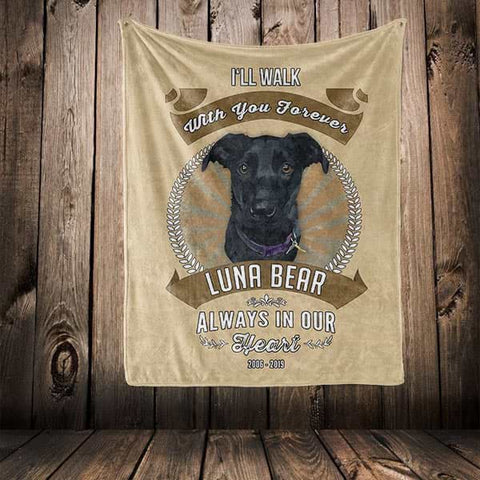 "Image of ▶ Pet Memorial Blanket ""I'll Walk With You Forever"""