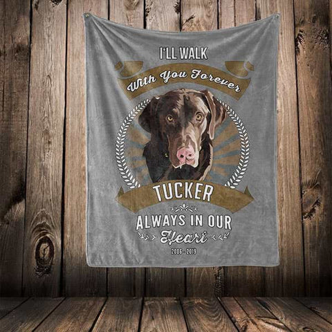 "▶ Pet Memorial Blanket ""I'll Walk With You Forever"""