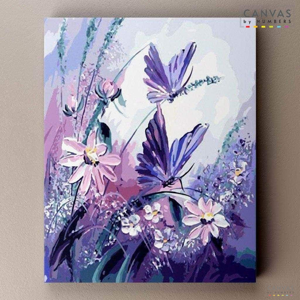 Mariposas Lilas- Pintar por Números- Canvas by Numbers