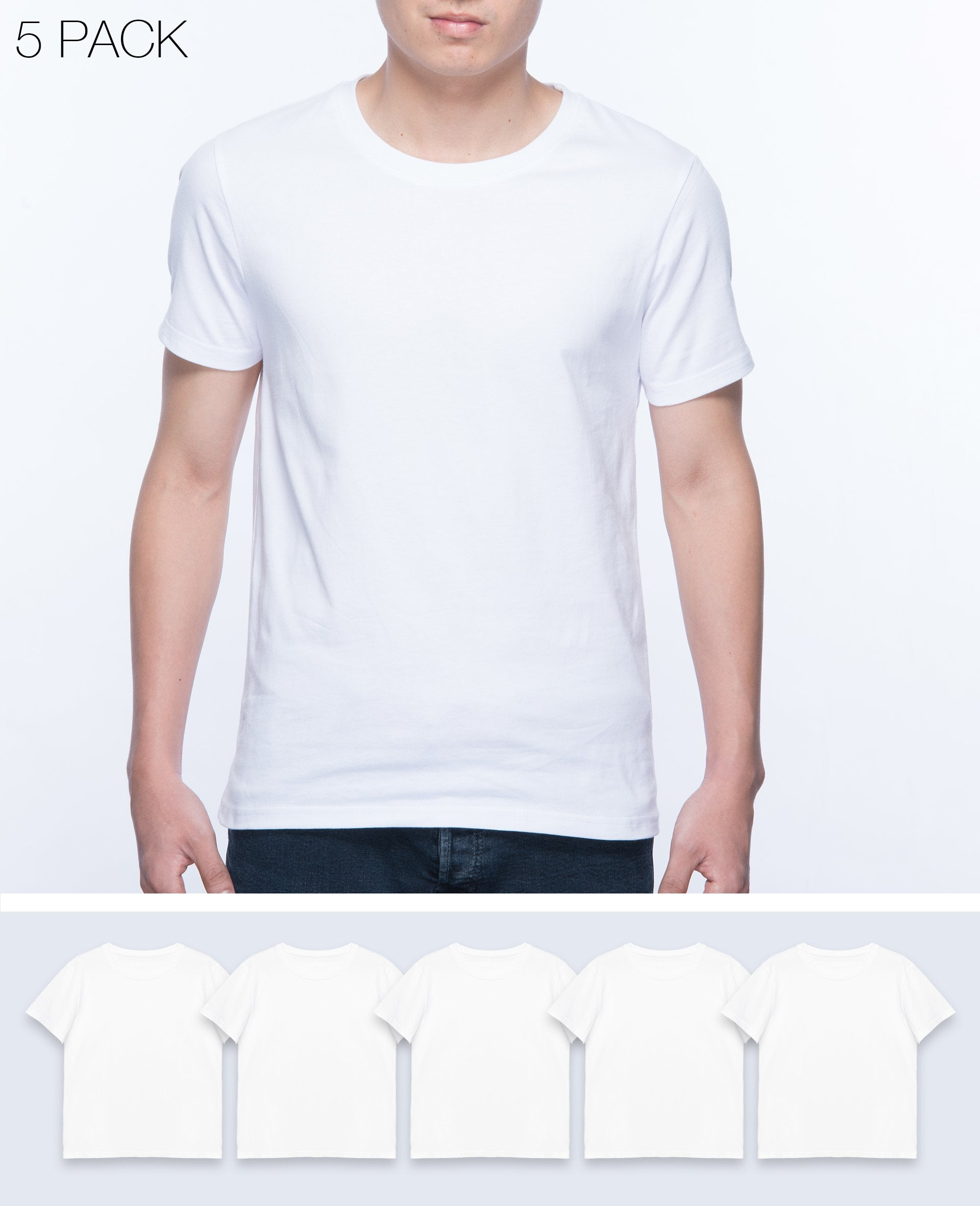 Basic T-shirt Men in White 5 pack - T-Shirts - BRANMA - BRANMA