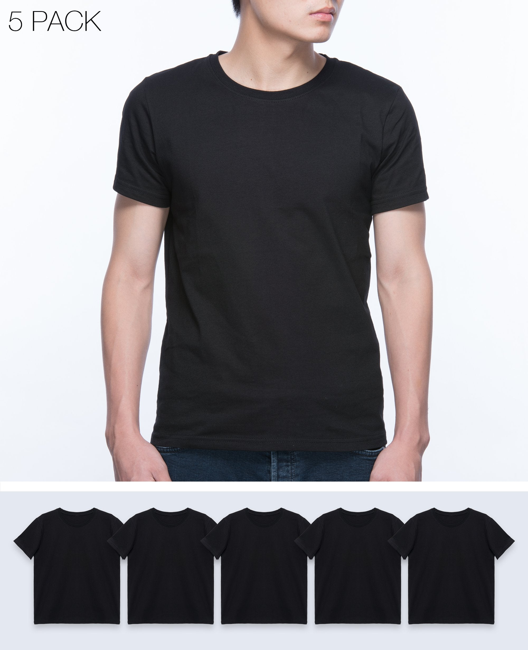 Basic T-shirt Men in Black 5 pack - T-Shirts - BRANMA - BRANMA