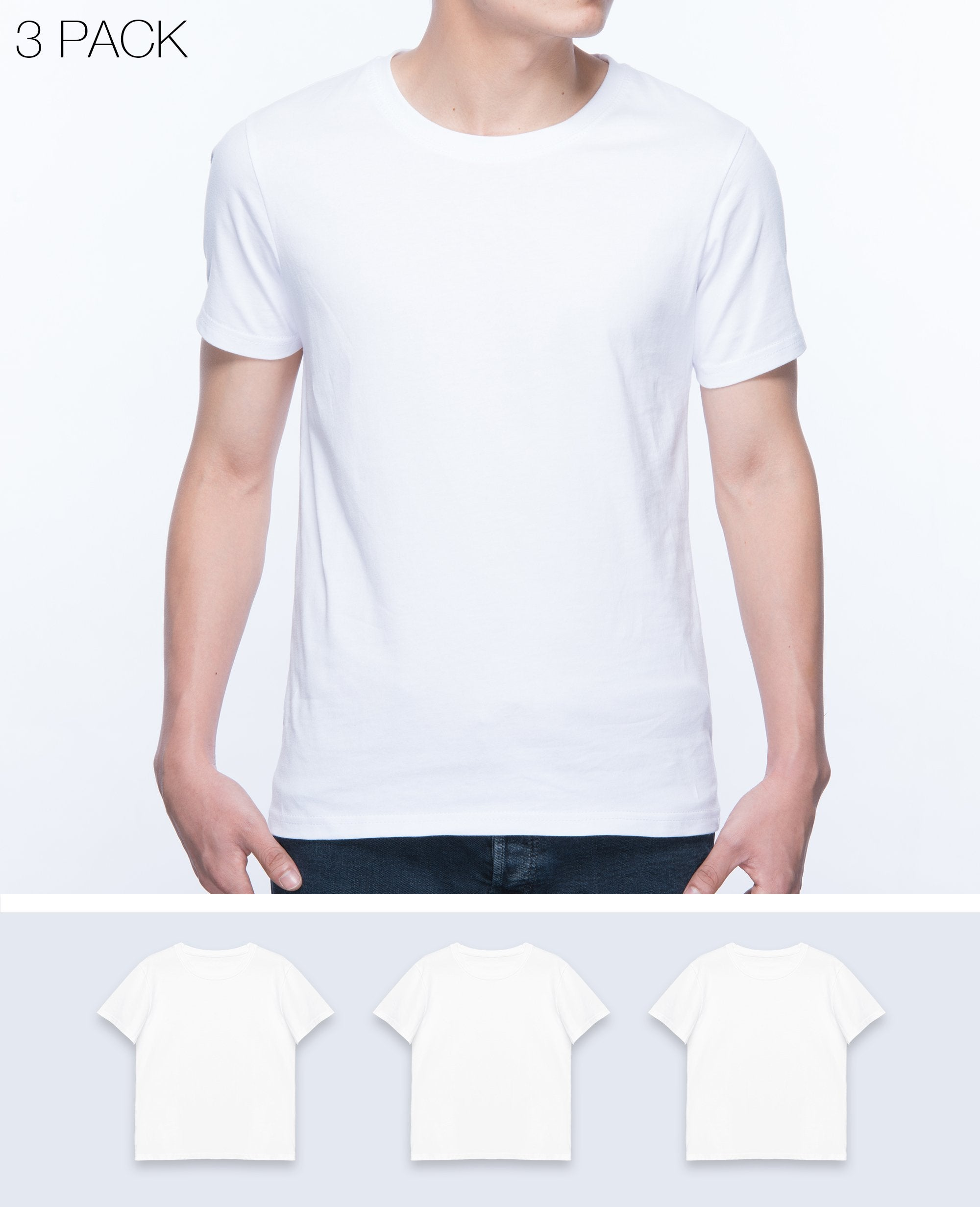 Basic T-shirt Men in White 3 pack - T-Shirts - BRANMA - BRANMA