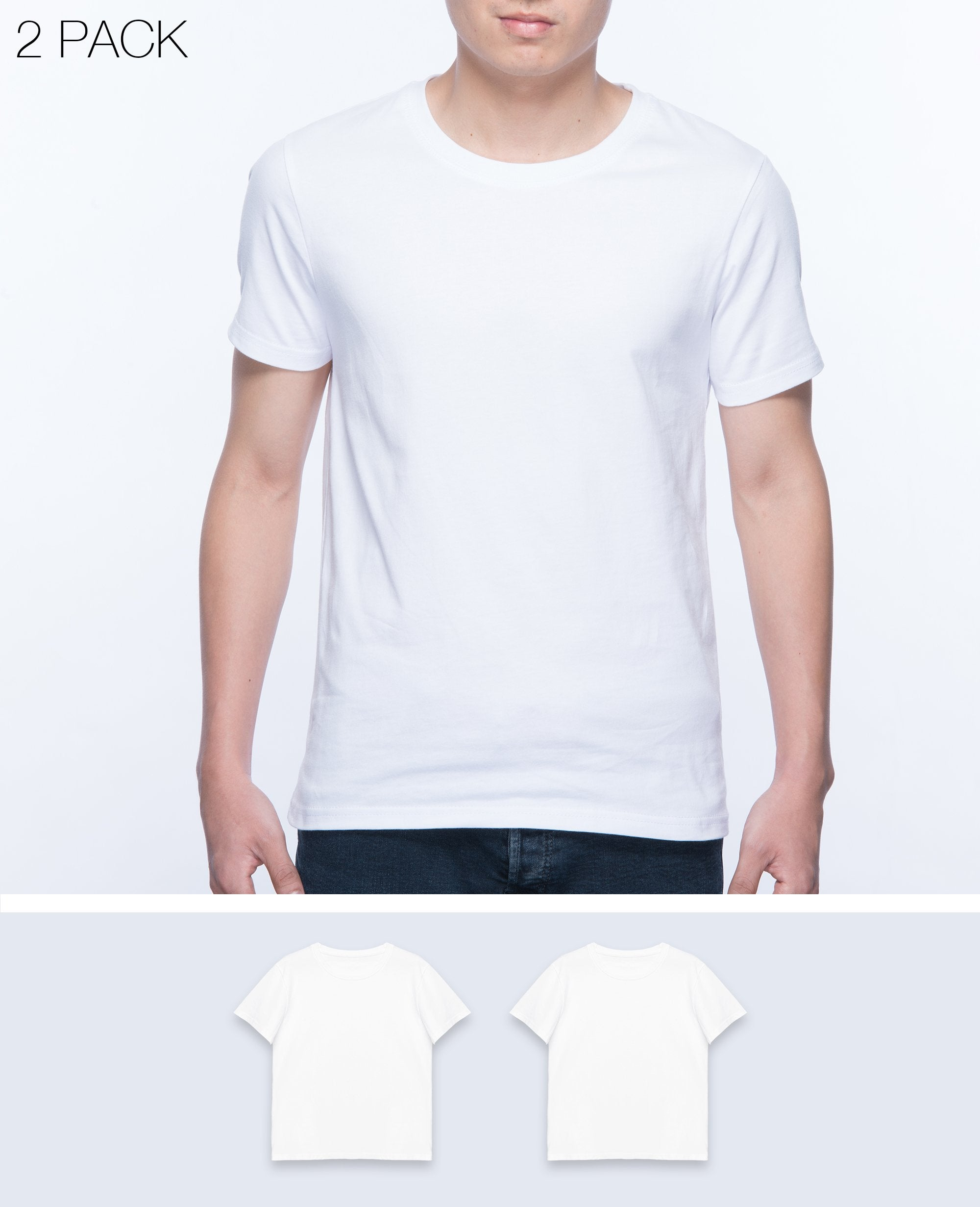Basic T-shirt Men in White 2 pack - T-Shirts - BRANMA - BRANMA