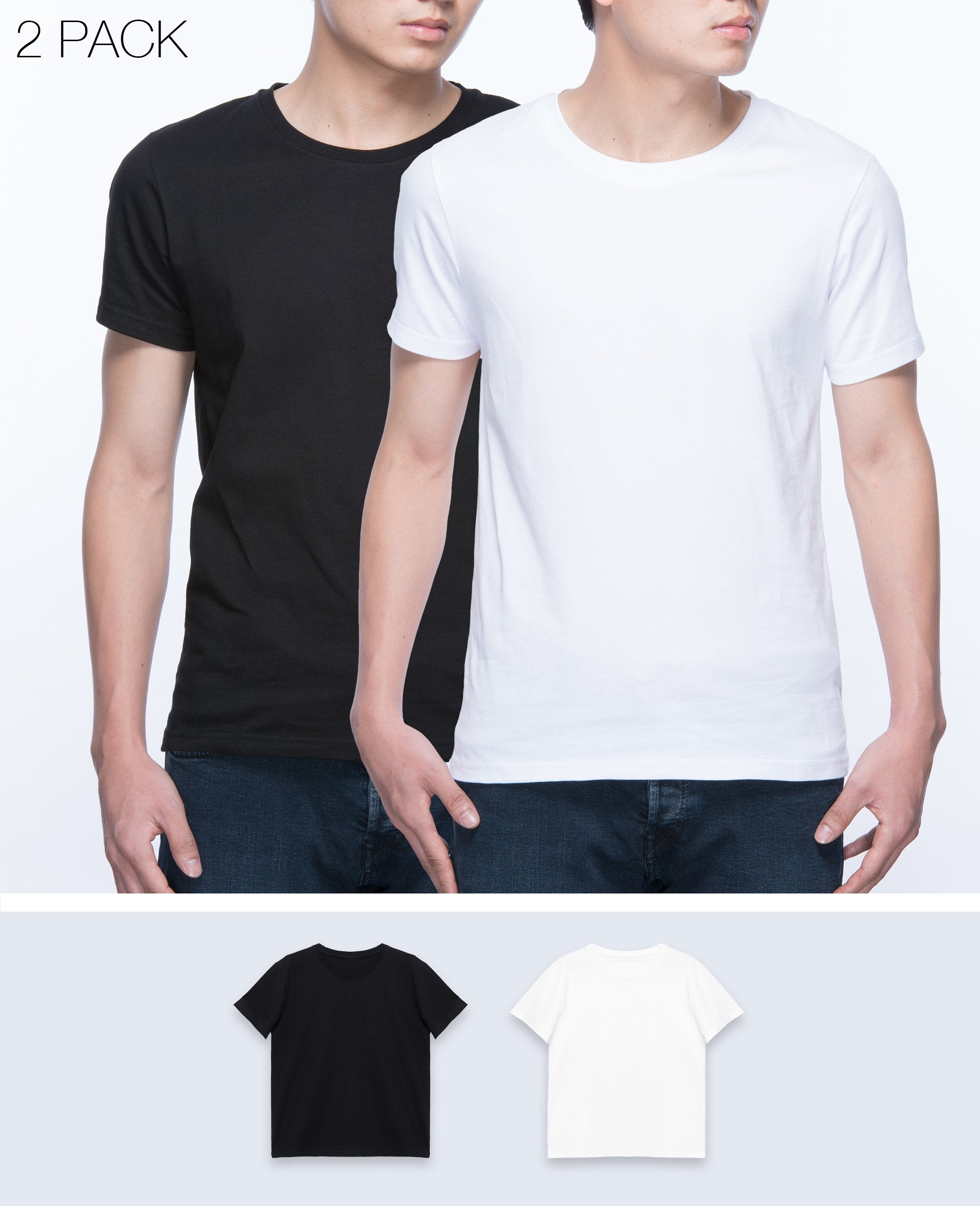 Basic T-shirt Men in Black / White 2 pack - T-Shirts - BRANMA - BRANMA