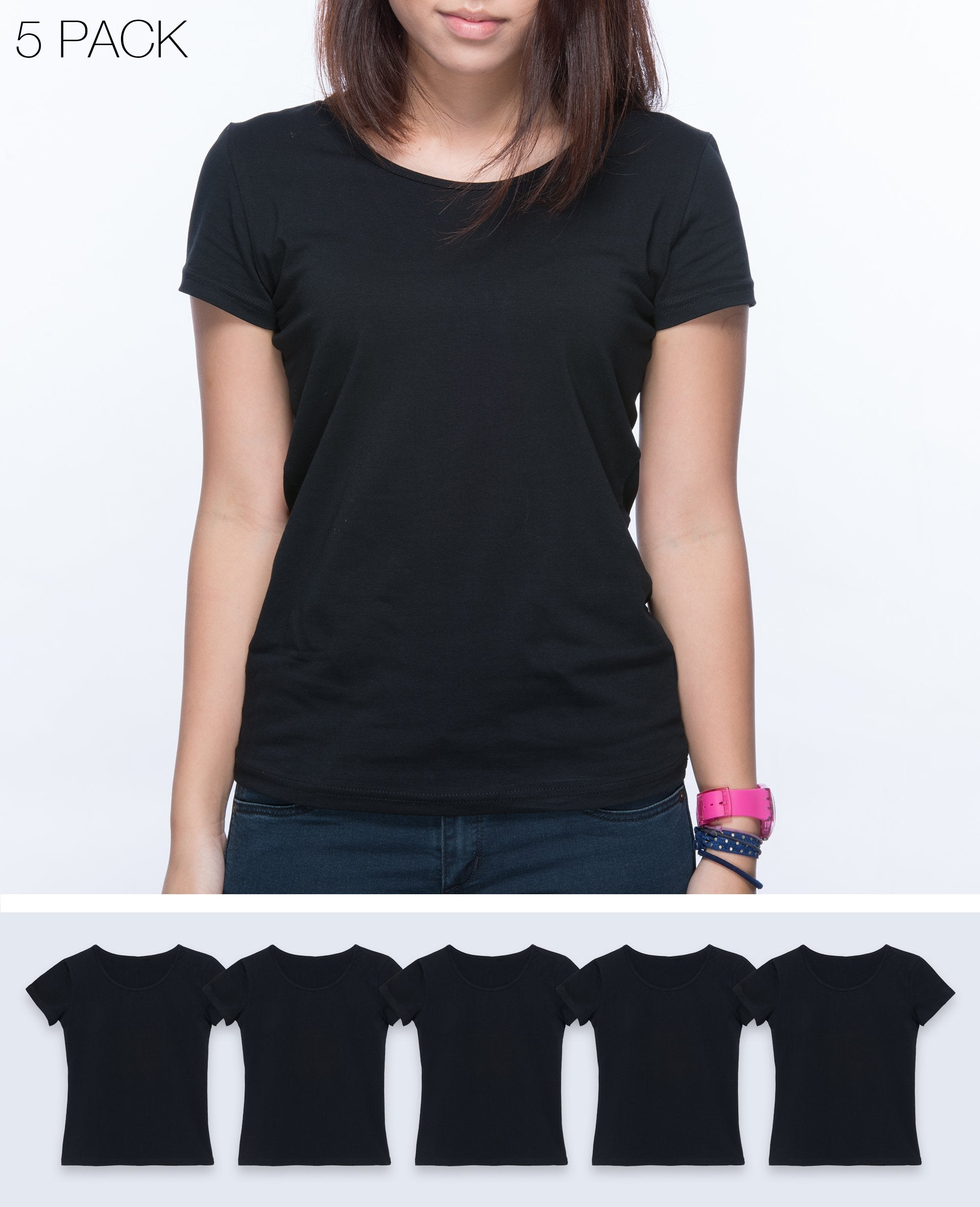 Slim fit T-shirt Women in Black 5 pack - T-Shirts - BRANMA - BRANMA