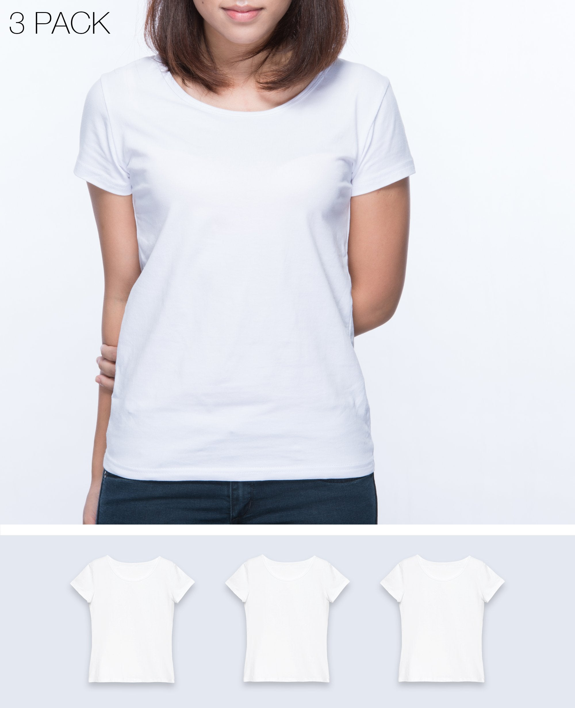 Slim fit T-shirt Women in White 3 pack - T-Shirts - BRANMA - BRANMA