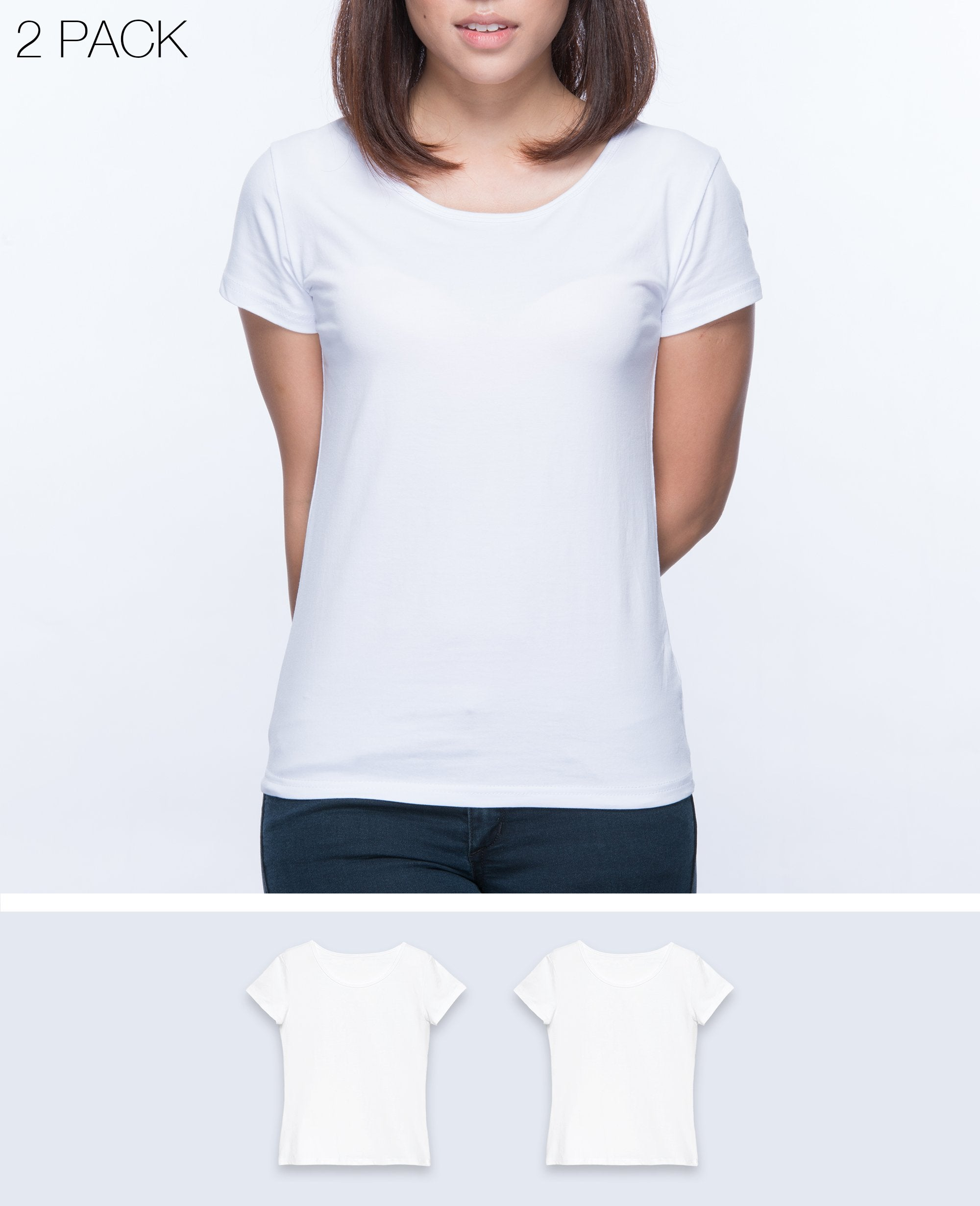 Slim fit T-shirt Women in White 2 pack - T-Shirts - BRANMA - BRANMA