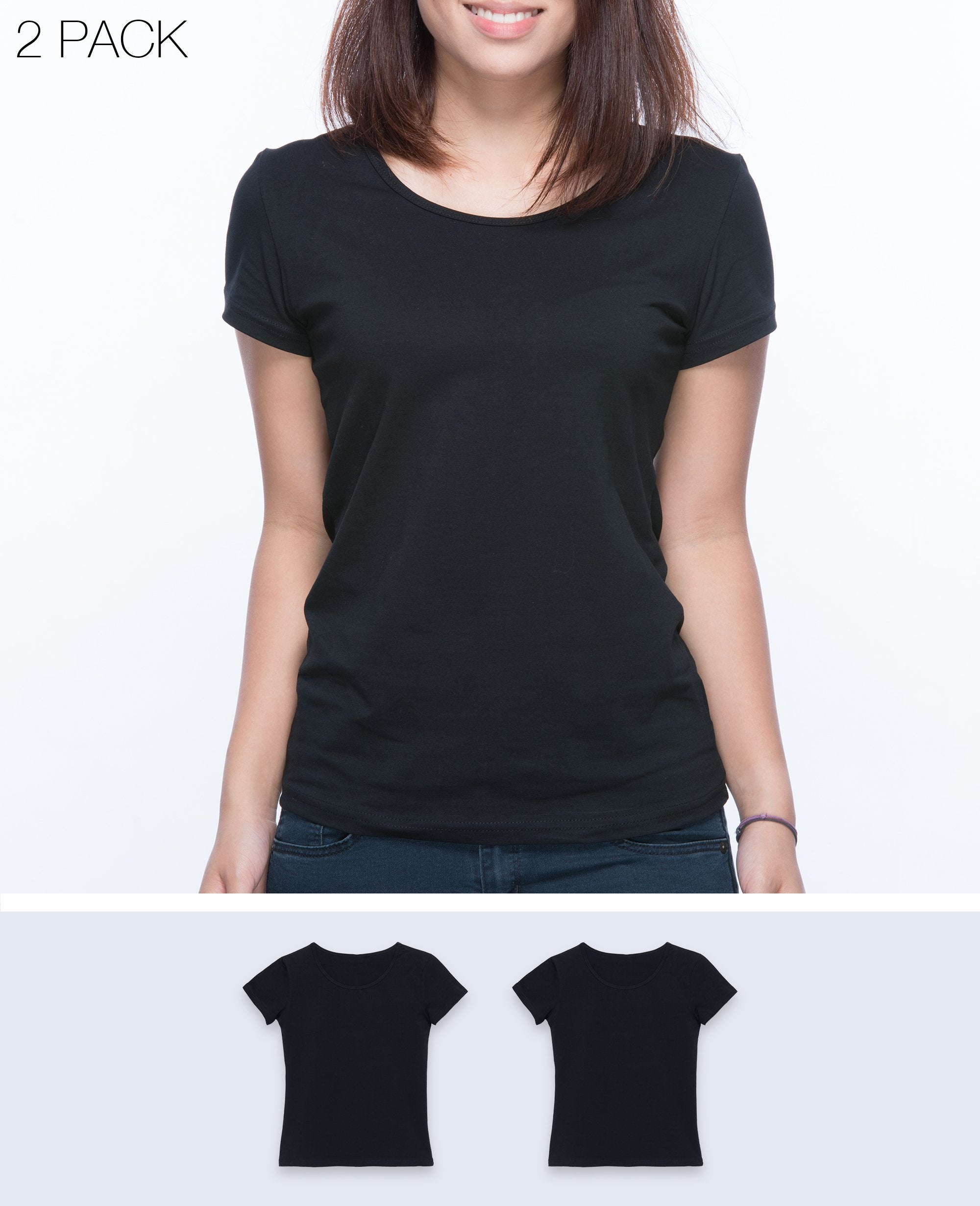 Slim fit T-shirt Women in Black 2 pack - T-Shirts - BRANMA - BRANMA