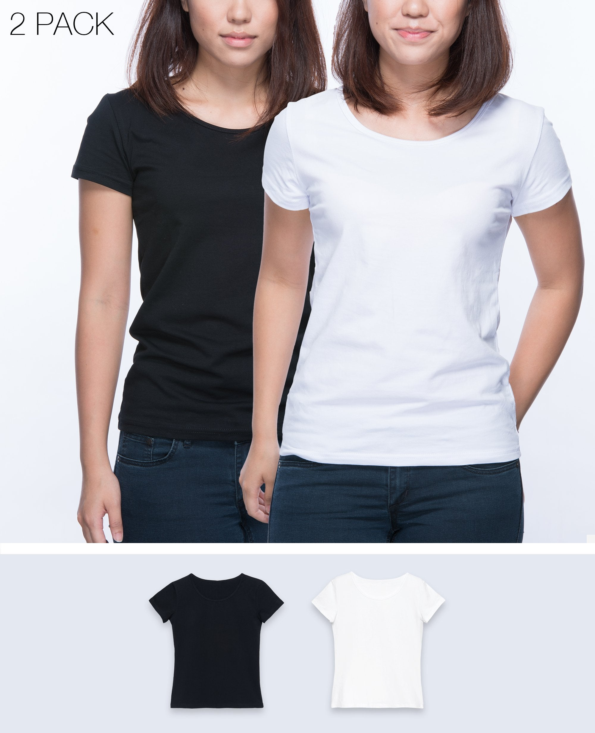 Slim fit T-shirt Women in Black / White 2 pack - T-Shirts - BRANMA - BRANMA