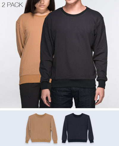 Unisex Basic Sweatshirt in Black / Light Brown 2 pack - Sweater - BRANMA - BRANMA