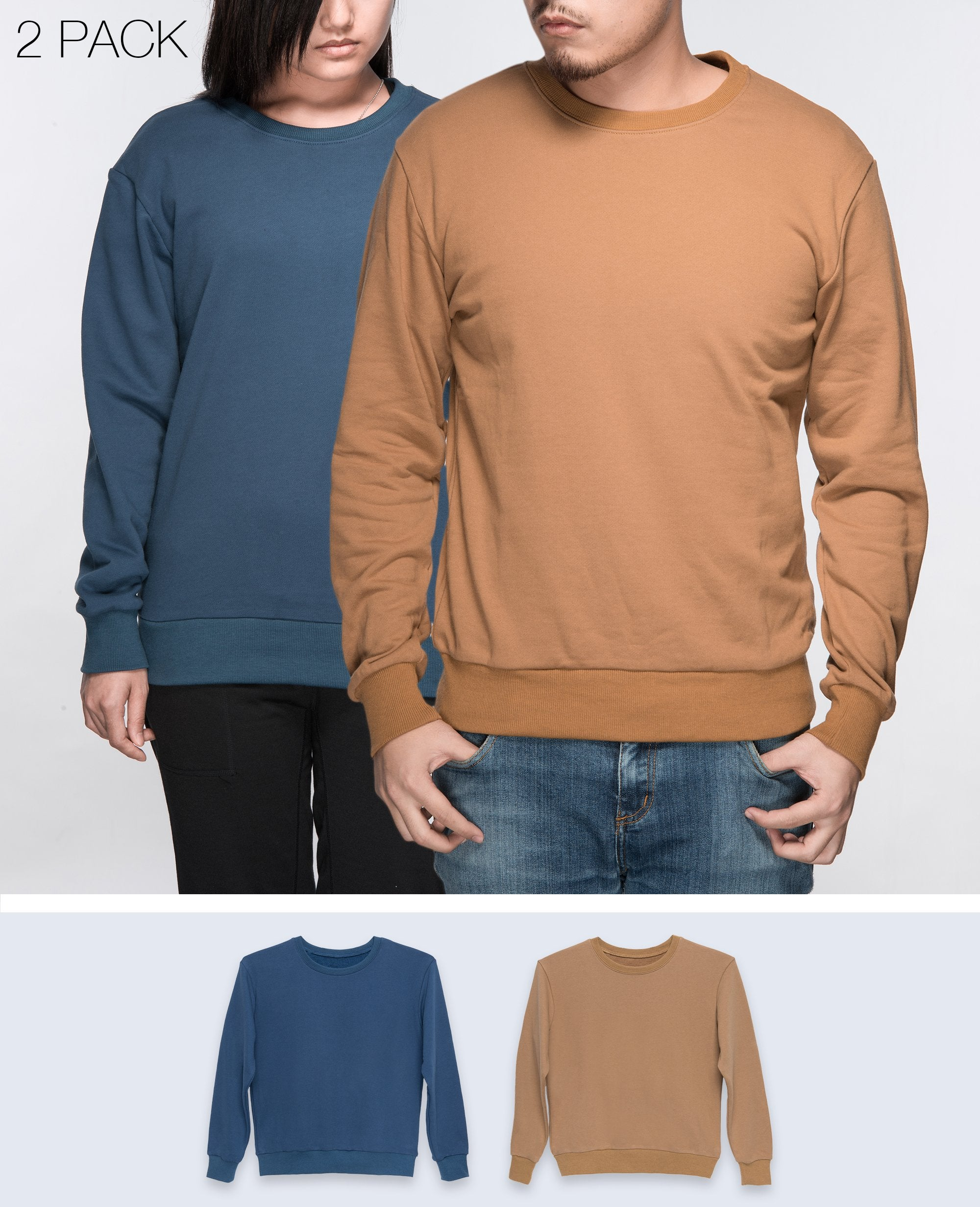 Unisex Basic Sweatshirt in Navy / Light Brown  2 pack - Sweater - BRANMA - BRANMA