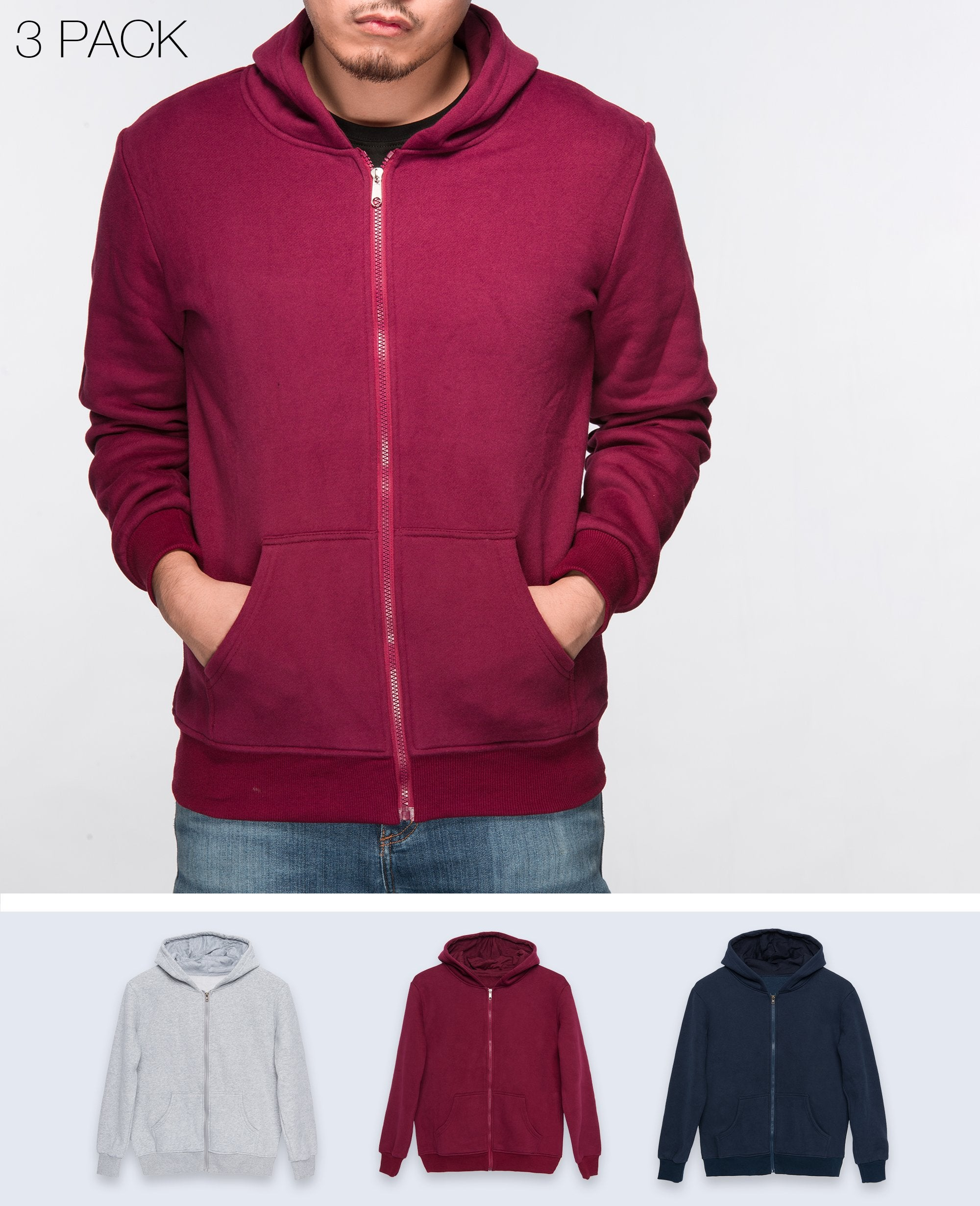 Unisex Basic Hoodies in Navy / Maroon / Gray 3 pack - Hoodies - BRANMA - BRANMA