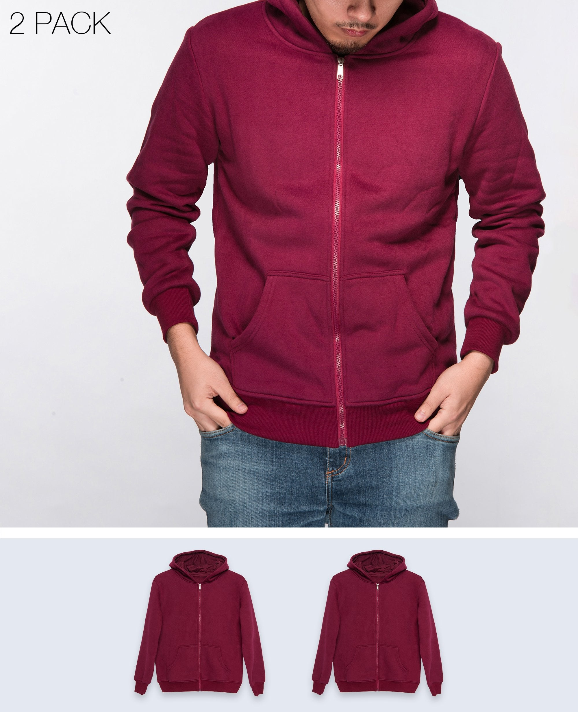 Unisex Basic Hoodies in Maroon 2 pack - Hoodies - BRANMA - BRANMA