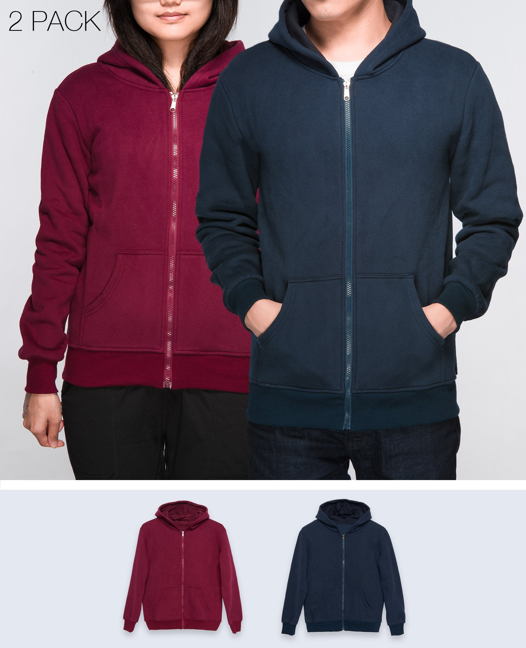 Unisex Basic Hoodies in Navy / Maroon 2 pack - Hoodies - BRANMA - BRANMA