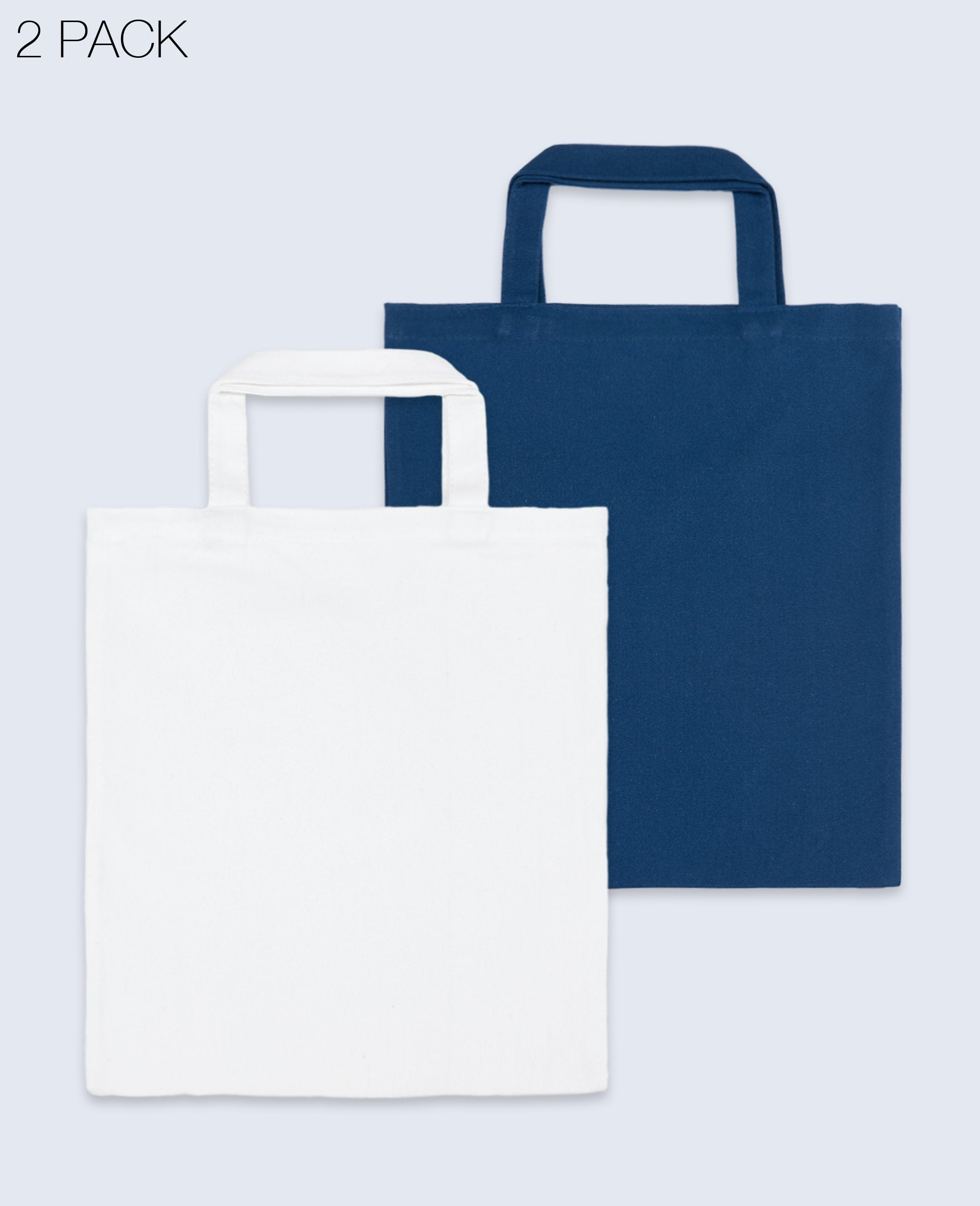 Short Handle Tote bag in White / Navy 2 pack - Tote Bag - BRANMA - BRANMA