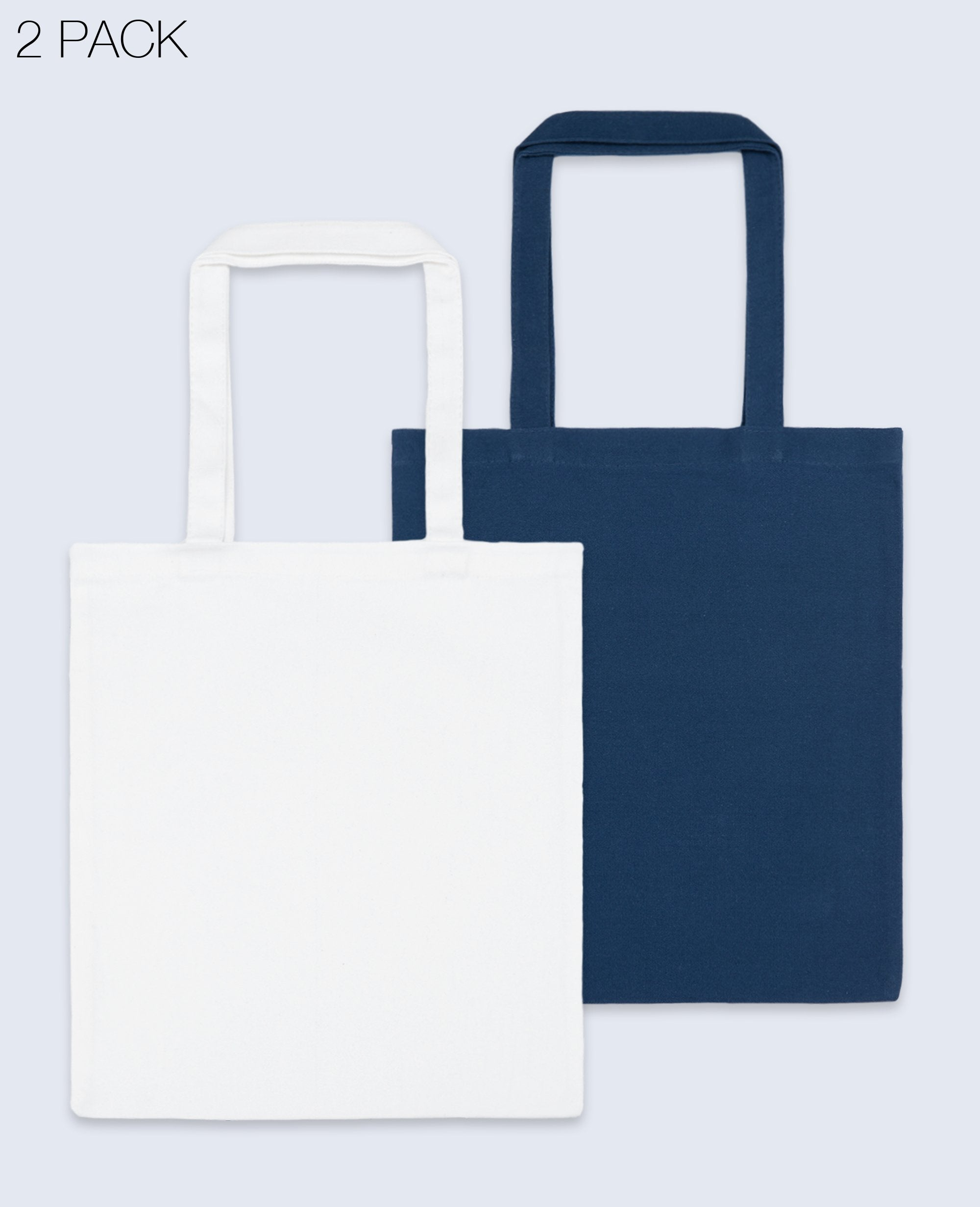 Long Handle Tote bag in White / Navy 2 pack - Tote Bag - BRANMA - BRANMA