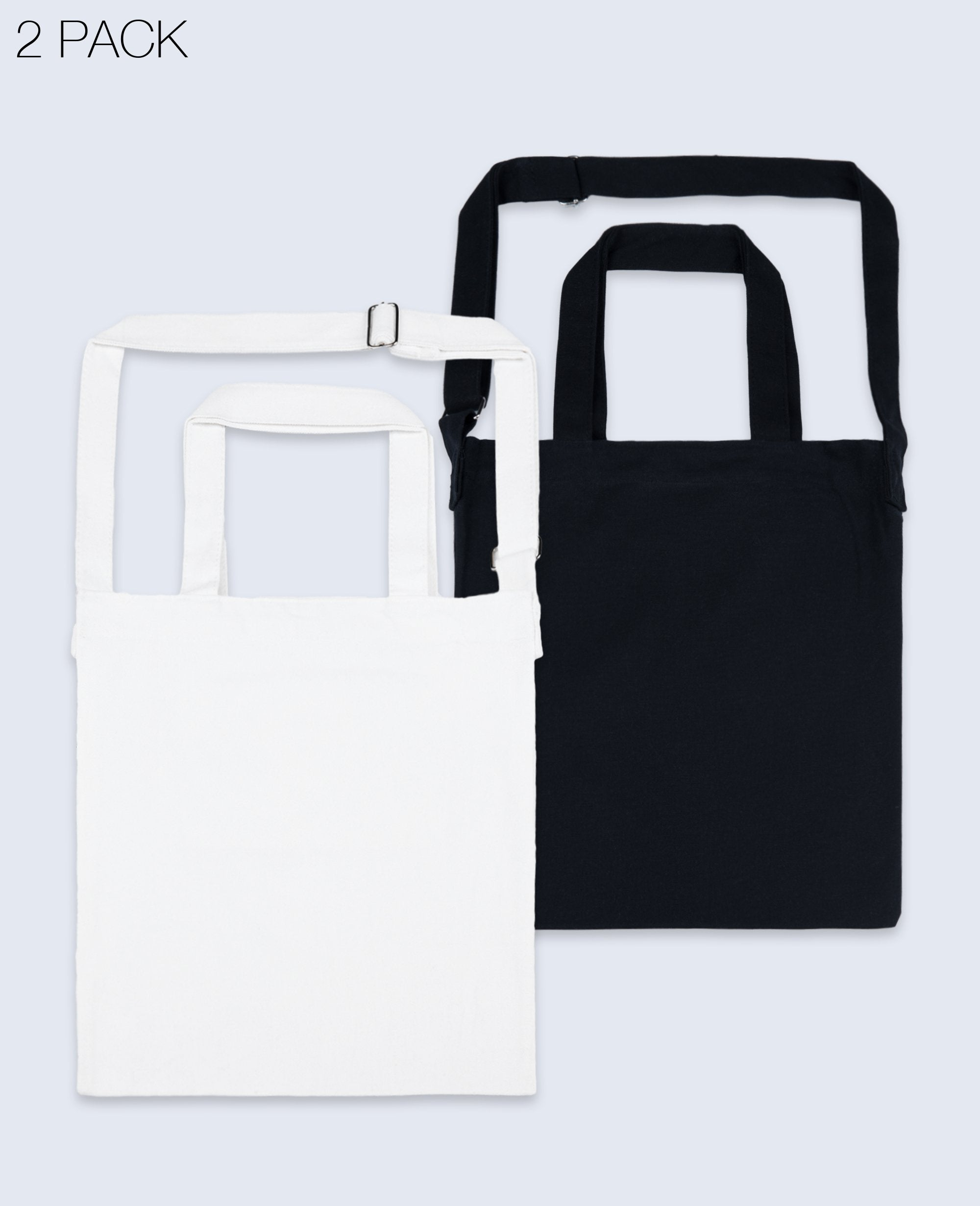 One shoulder Tote bag in Black / White 2 pack - Tote bags - BRANMA - BRANMA