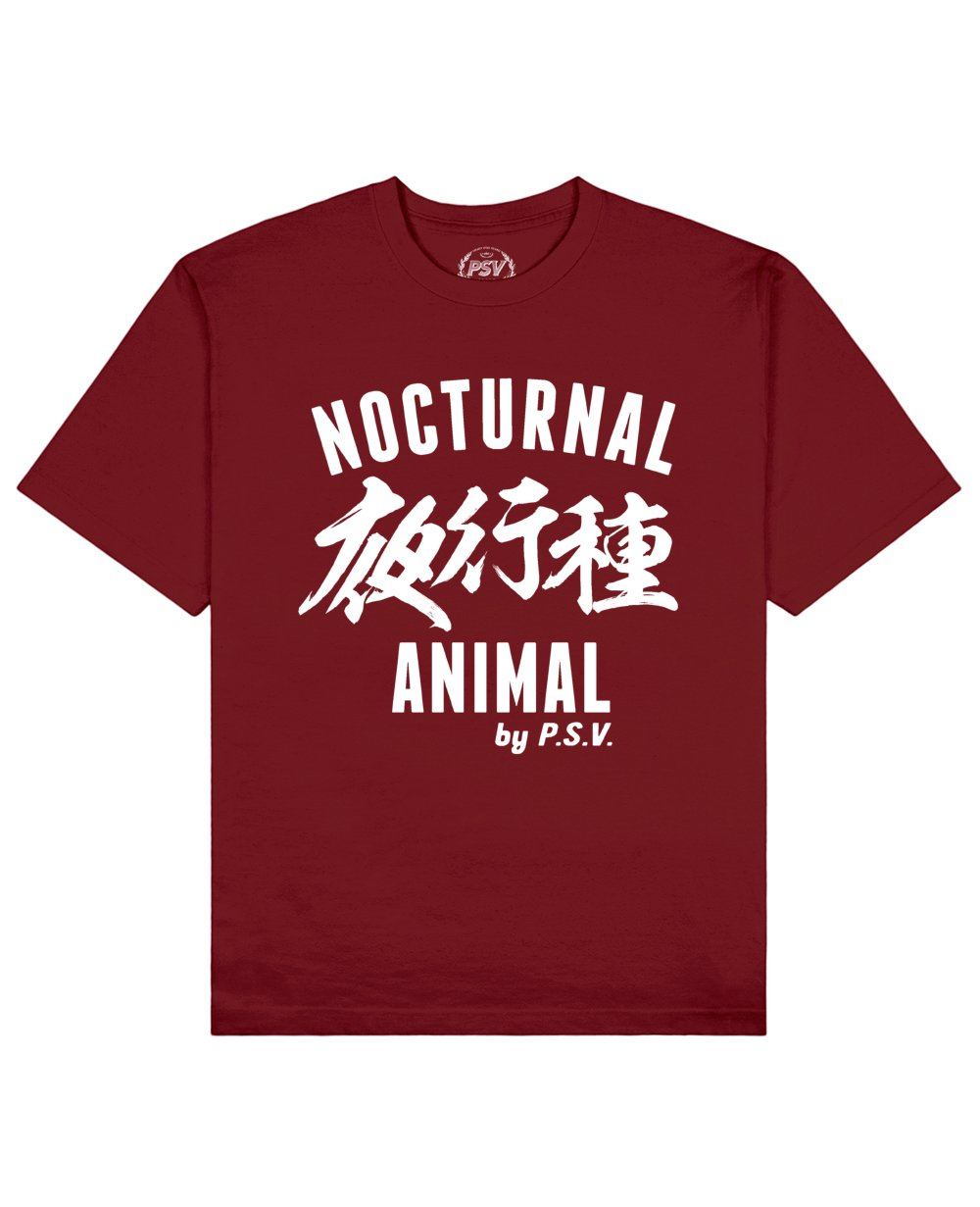 Nocturnal Animal Print T-Shirt in Red - T-Shirts - PSV - BRANMA