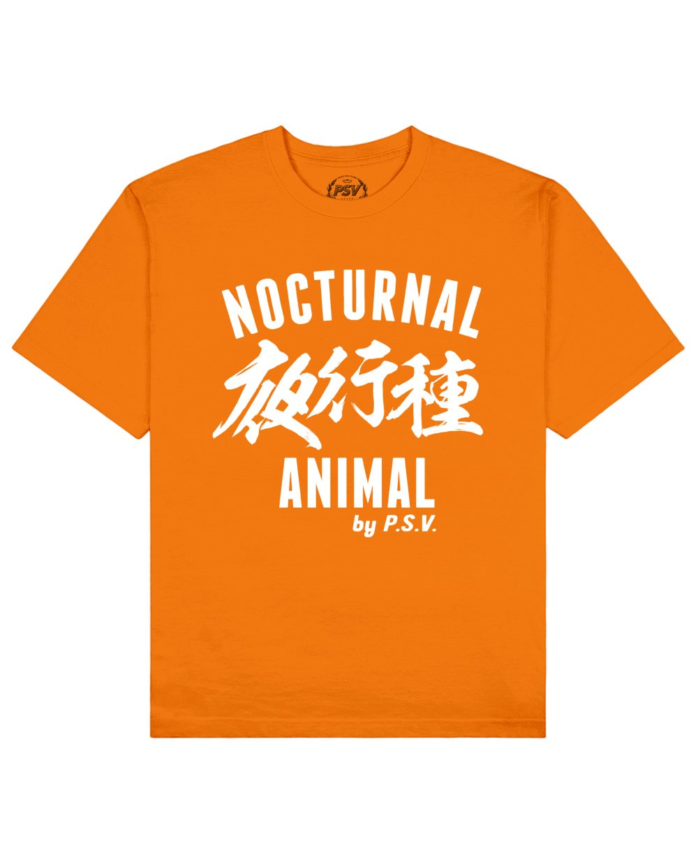 Nocturnal Animal Print T-Shirt in Orange - T-Shirts - PSV - BRANMA