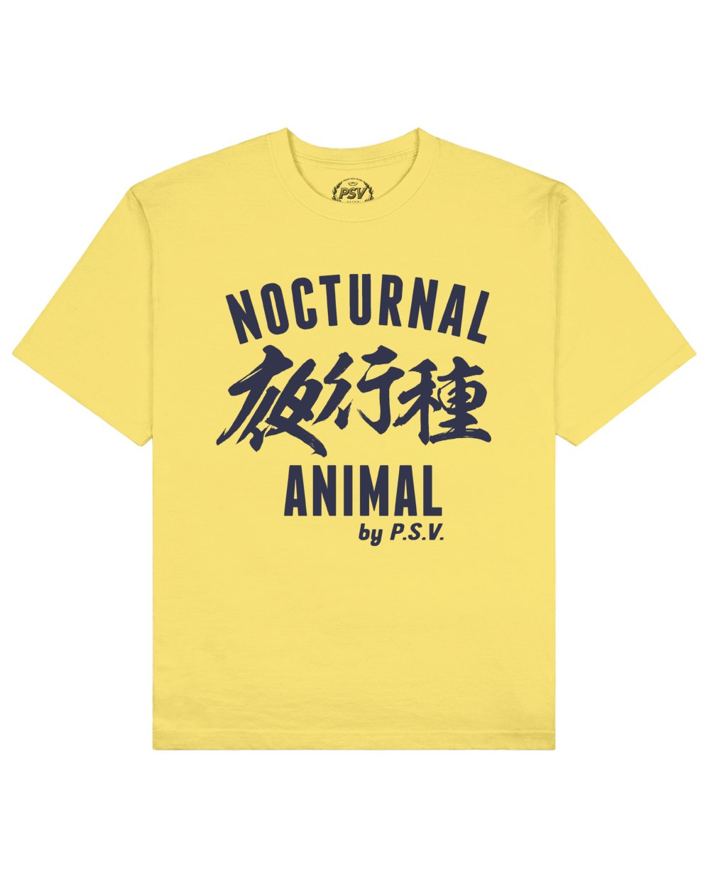 Nocturnal Animal Print T-Shirt in Light Yellow - T-Shirts - PSV - BRANMA