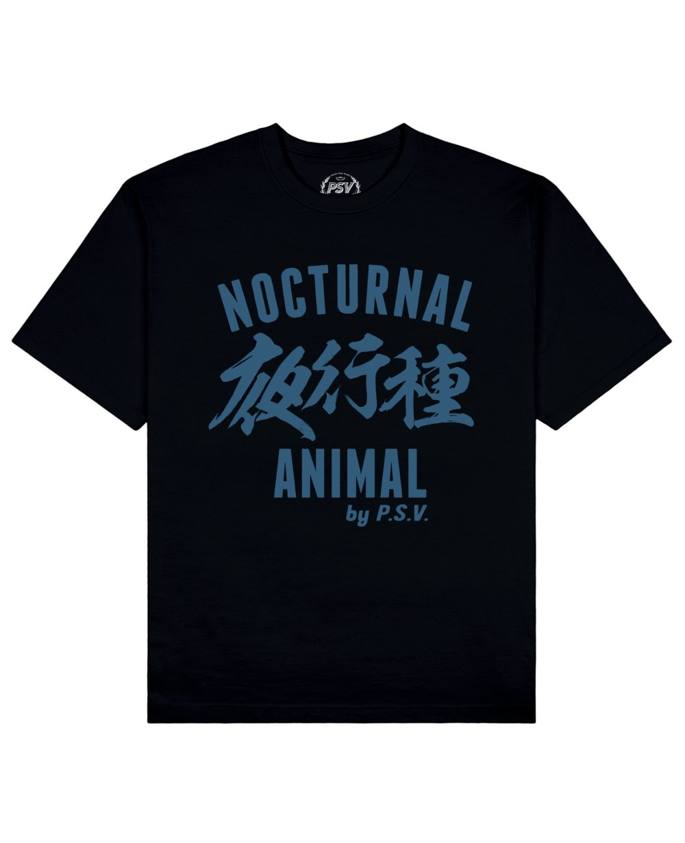 Nocturnal Animal Print T-Shirt in Black - T-Shirts - PSV - BRANMA