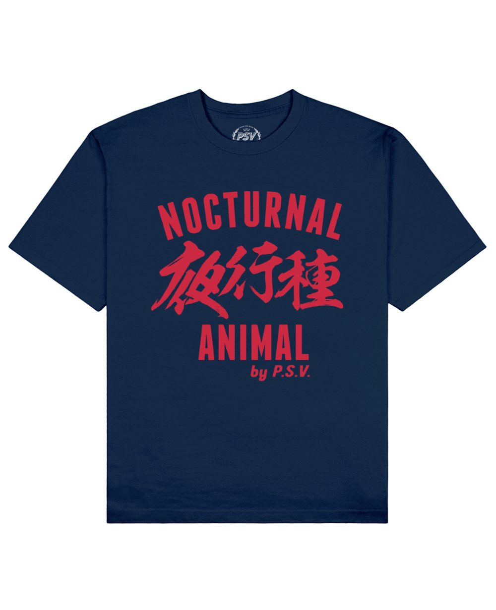 Nocturnal Animal Print T-Shirt in Blue - T-Shirts - PSV - BRANMA
