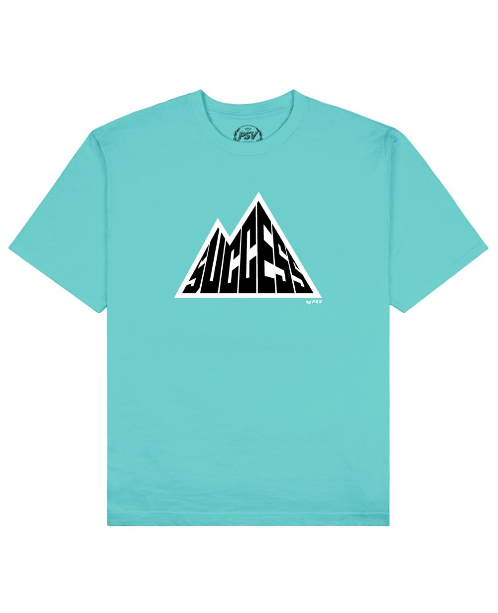 Success is a Mountain Print T-Shirt in Aqua - T-Shirts - PSV - BRANMA