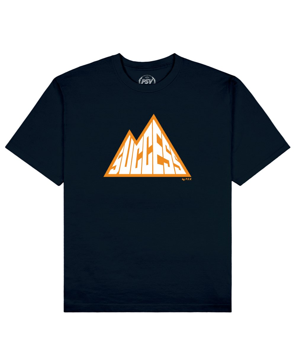 Success is a Mountain Print T-Shirt in Navy - T-Shirts - PSV - BRANMA