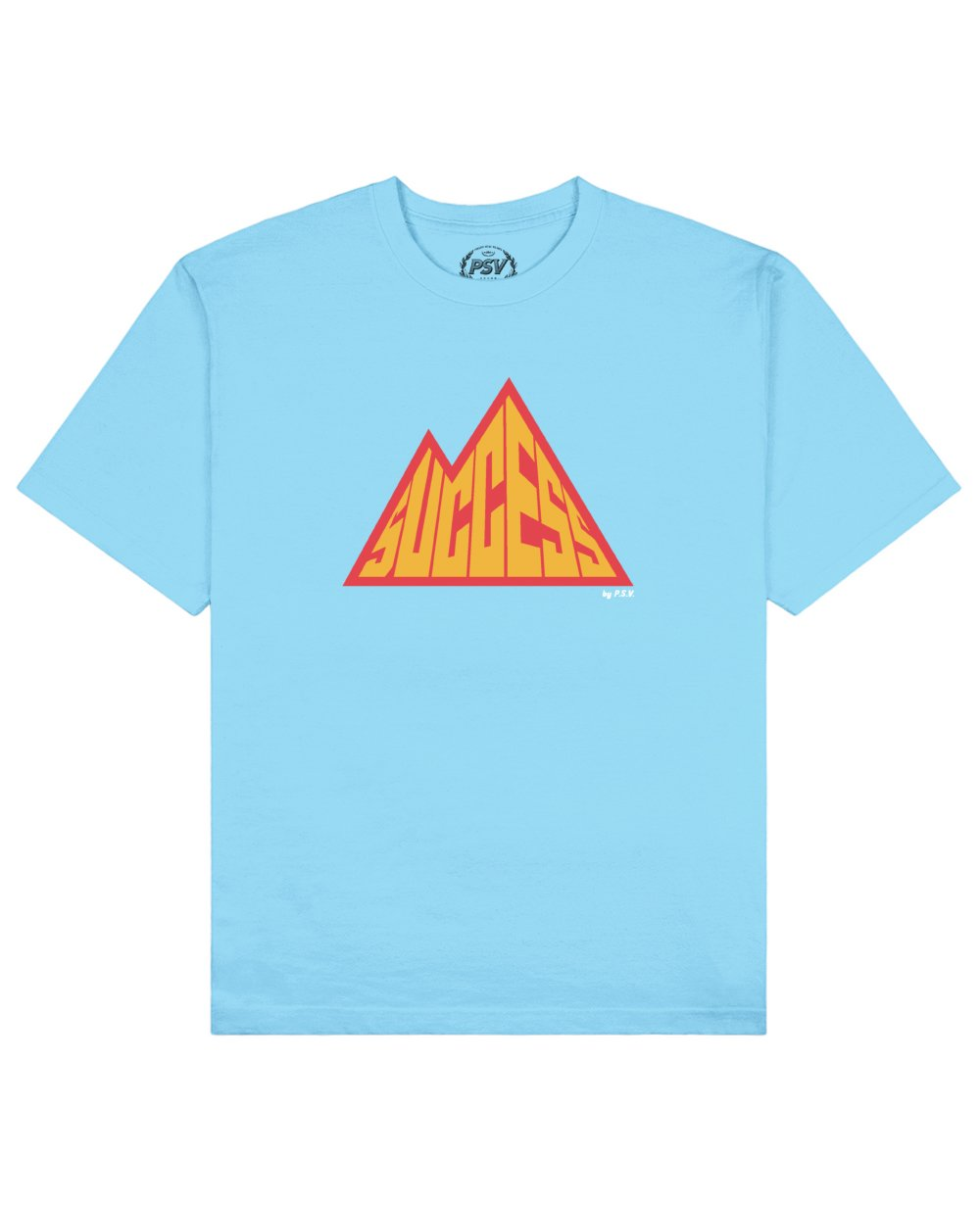 Success is a Mountain Print T-Shirt in Light Blue - T-Shirts - PSV - BRANMA