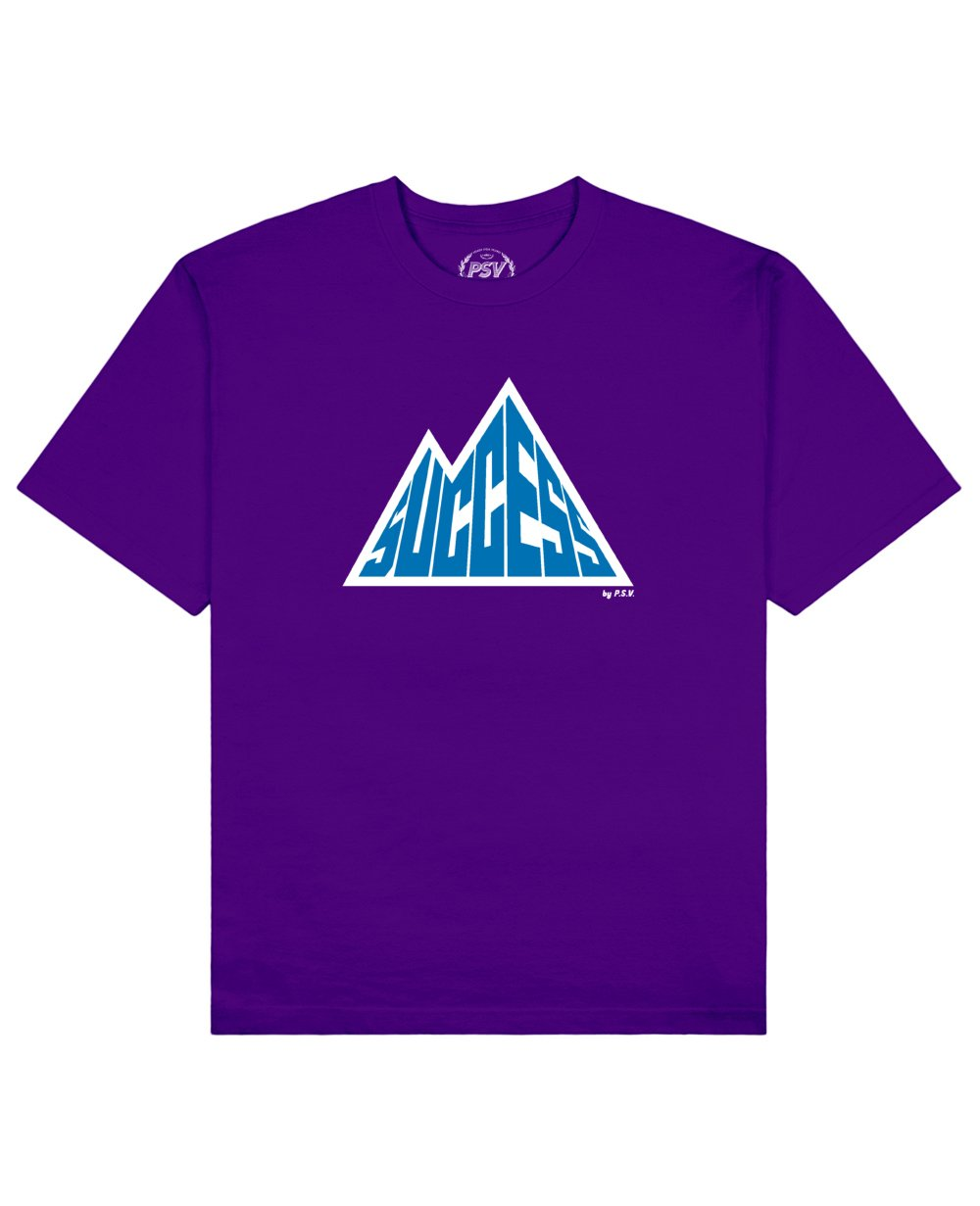 Success is a Mountain Print T-Shirt in Purple - T-Shirts - PSV - BRANMA