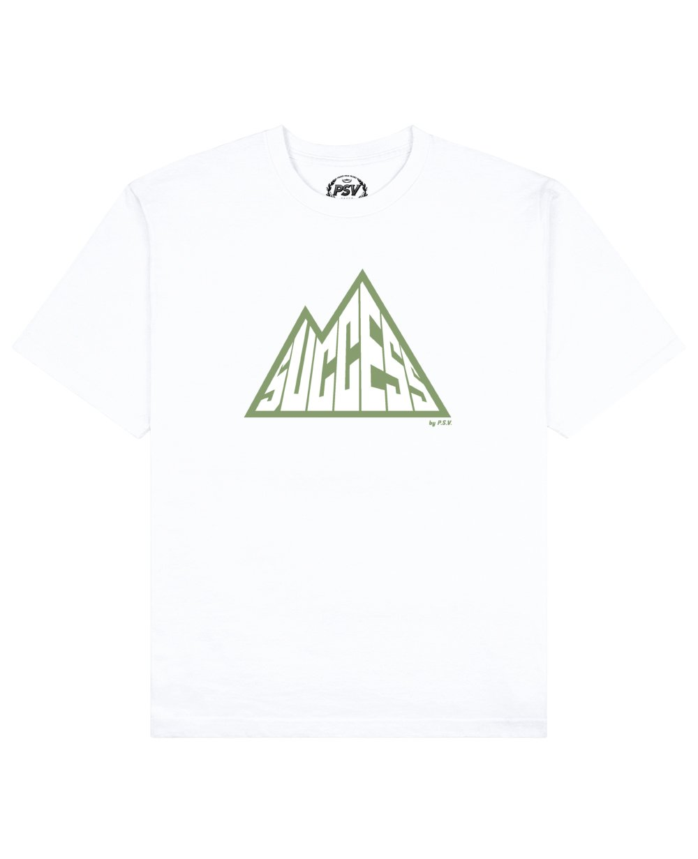 Success is a Mountain Print T-Shirt in White - T-Shirts - PSV - BRANMA