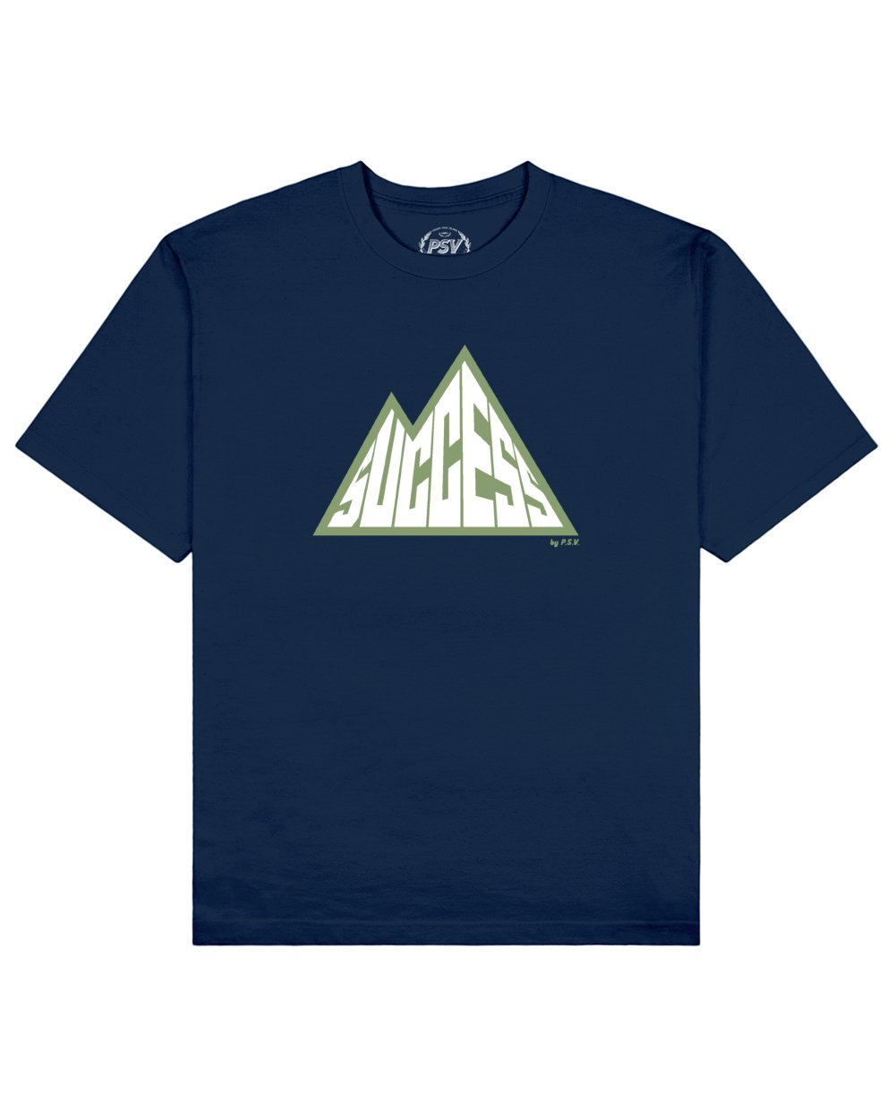 Success is a Mountain Print T-Shirt in Blue - T-Shirts - PSV - BRANMA