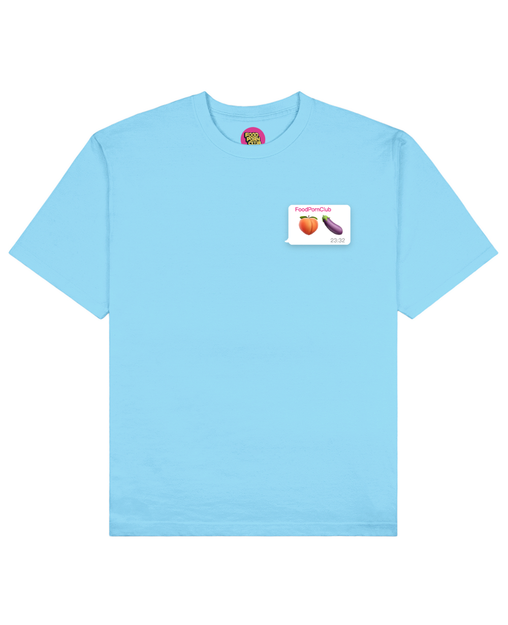 Dirty Emoji Print T-Shirt in Light Blue - T-Shirts - FOOD PORN CLUB - BRANMA