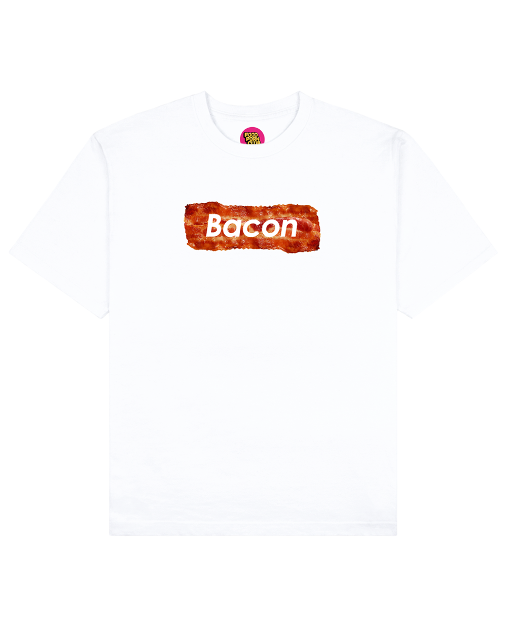 Bacon Print T-Shirt in White - T-Shirts - FOOD PORN CLUB - BRANMA
