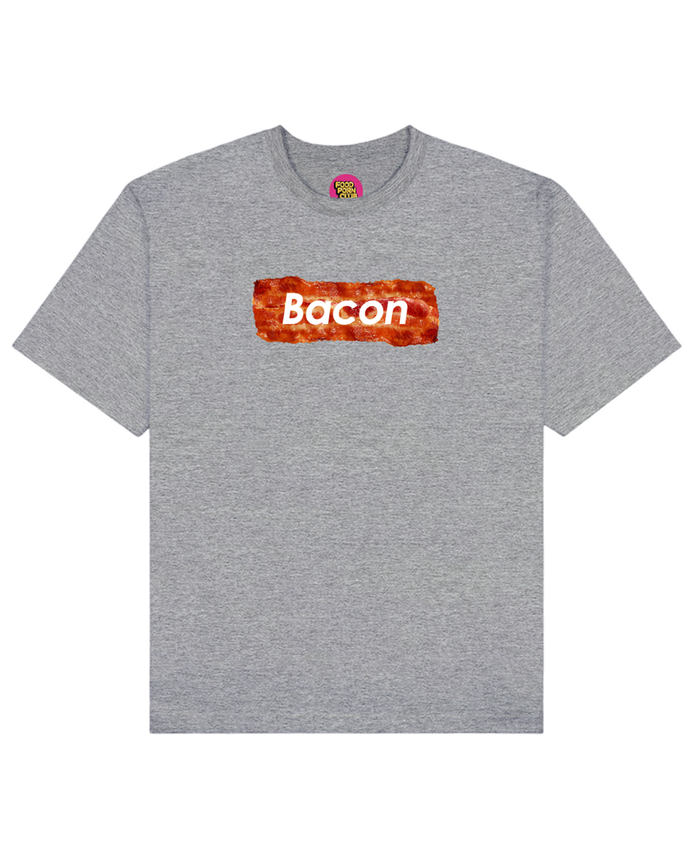 Bacon Print T-Shirt in Heather Gray - T-Shirts - FOOD PORN CLUB - BRANMA