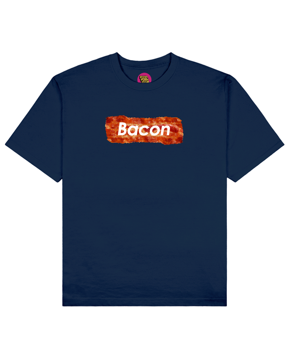 Bacon Print T-Shirt in Navy - T-Shirts - FOOD PORN CLUB - BRANMA