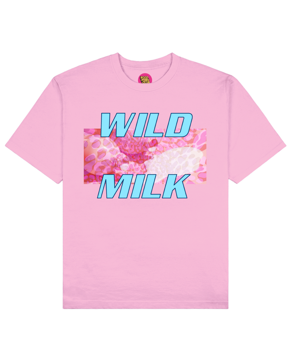 Wild Milk Print T-Shirt in Pink - T-Shirts - FOOD PORN CLUB - BRANMA