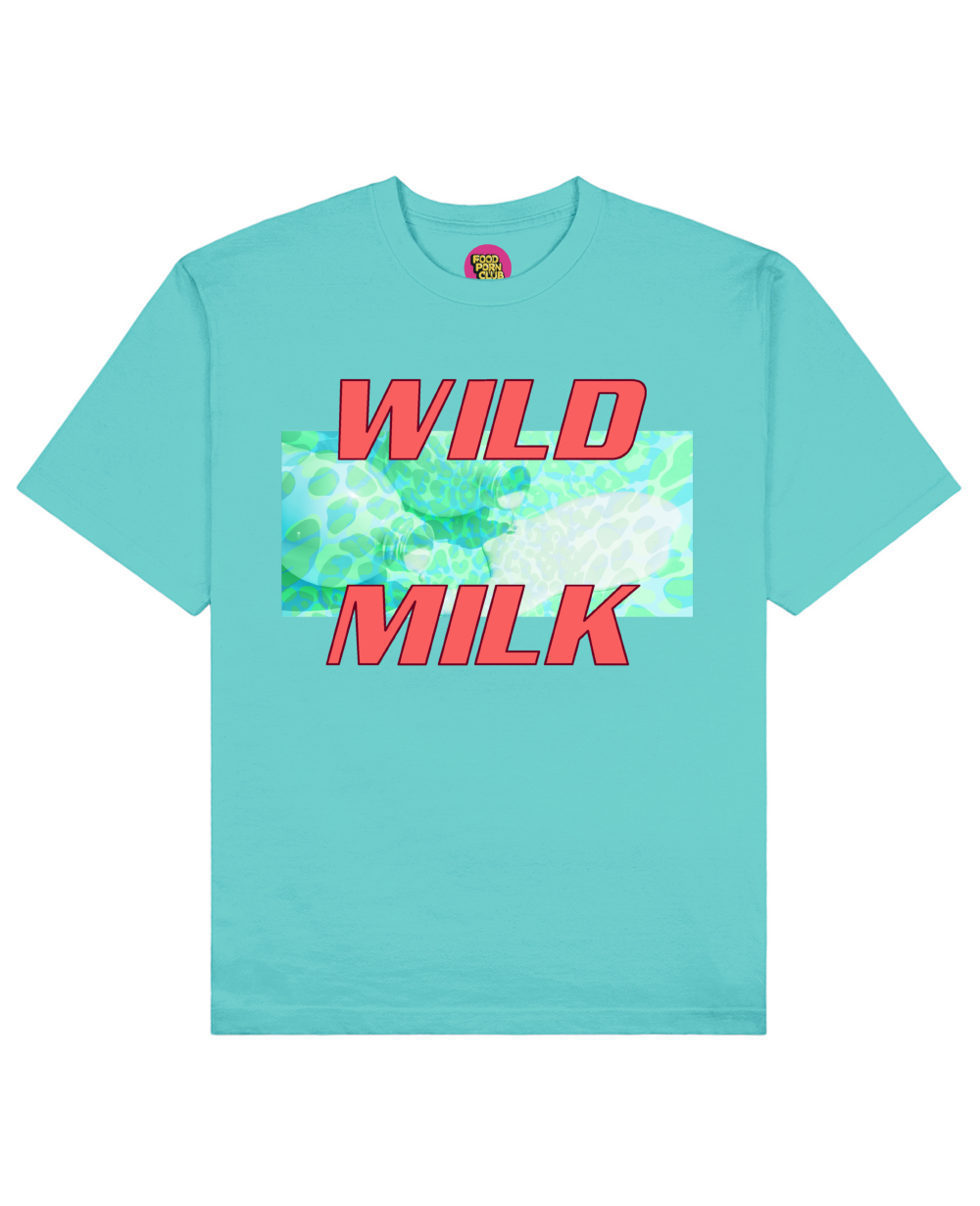 Wild Milk Print T-Shirt in Aqua Blue - T-Shirts - FOOD PORN CLUB - BRANMA