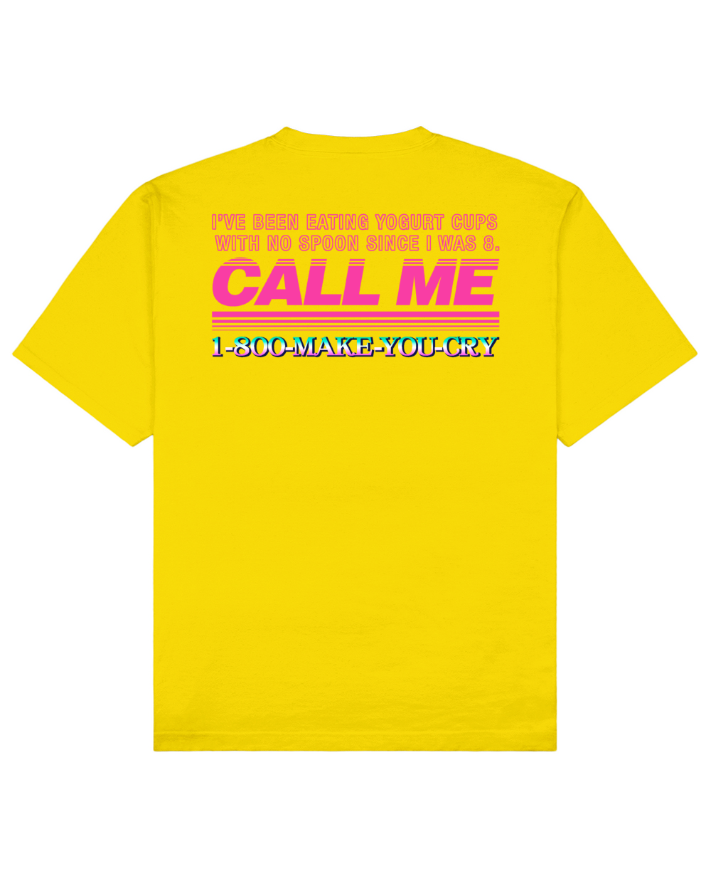 Call Me Print T-Shirt in Yellow - T-Shirts - FOOD PORN CLUB - BRANMA