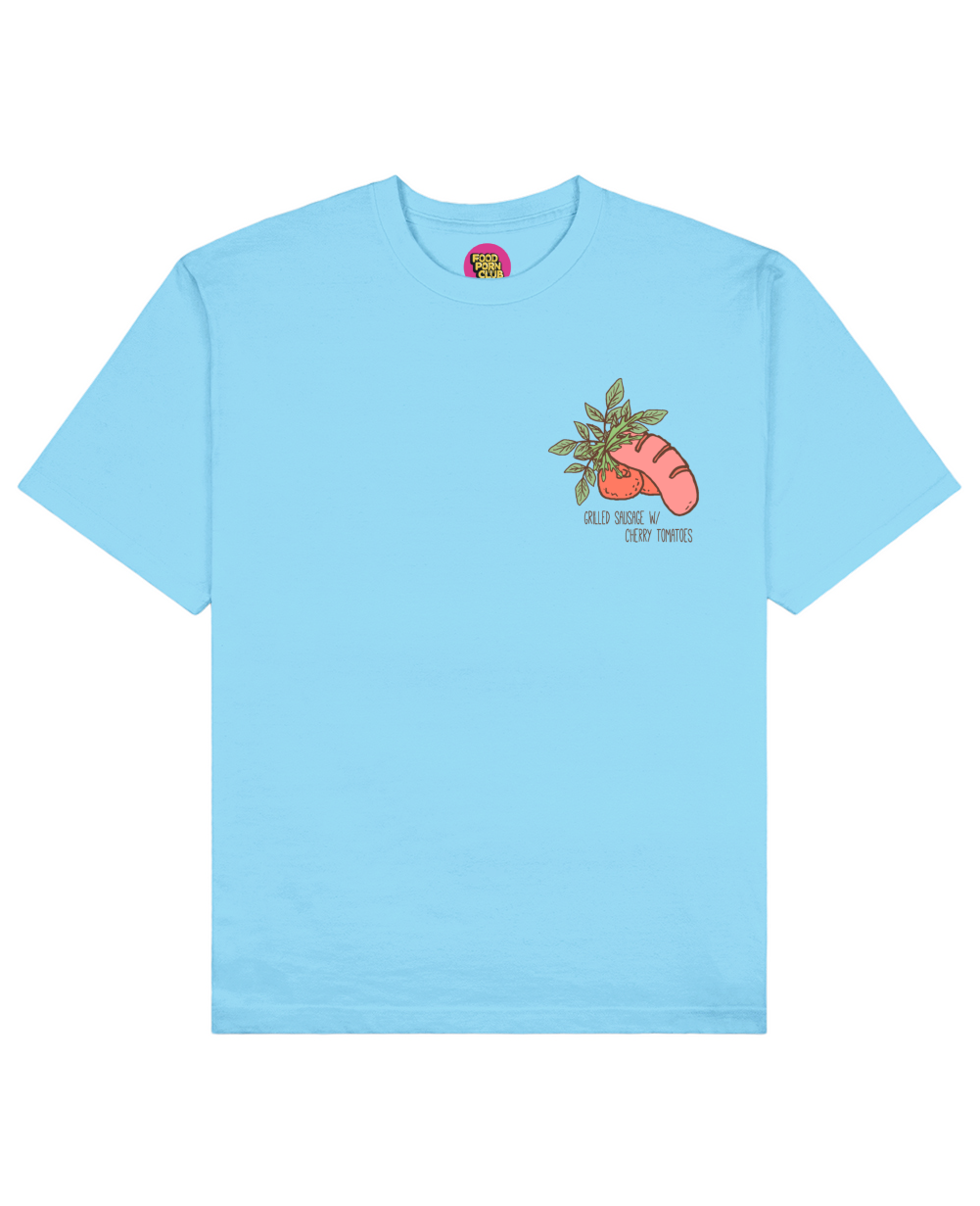 Grilled Sausage Print T-Shirt in Light Blue - T-Shirts - FOOD PORN CLUB - BRANMA